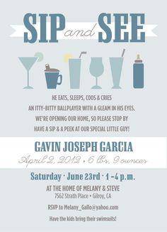 Baby Sip and See Invitations. $2.50, via Etsy.: