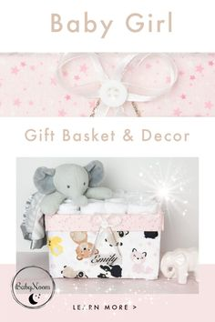This cute and girly nappy caddy is filled with pink flannel starry fabric, to give your space the coziest atmosphere! It could make a great new baby gift basket or a housewarming washcloths basket. Baby Storage Baskets, Girl Gift Baskets, Girl Nursery, Nursery Decor, Girl Room, Aviation Decor, Baby Bathroom, Diaper Caddy, Unique Baby Shower Gifts