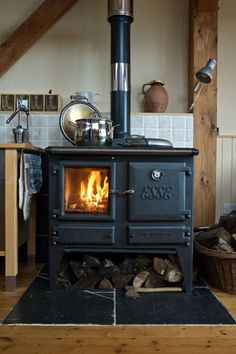 Wood burning stove. homey-home