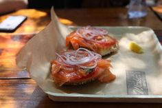 Lox with cream cheese, tomato, and cucumber from Wexler's Deli in Downtown Los Angeles Deli News, Smoked Fish, Cucumber, Cheese, Diet, Actors, Bagels, Cream, Ethnic Recipes