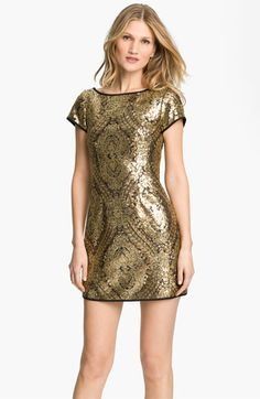 Nanette Lepore 'Society' Sequin Shift Dress available at #Nordstrom. Tiny sequins mimic ornate brocade along a sinuous bateau-neck shift edged with matte black trim.