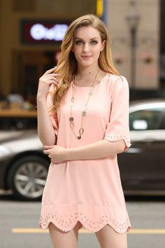 Pink shift-style dress