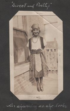 Here is a photo out of my Great Grand Uncle's [Osborne Ambrose Cully] scrapbook from 1917-1919.  She reminds me of a gypsy girl.  Not sure what her name was as there was no writing as to her identification.  I love her gypsy style outfit.  This photo was probably taken in the Worcester, Massachusetts area.