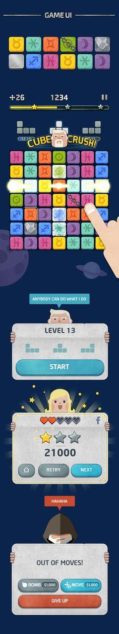 CubeMaster Game GUI Design, Illustration and Effect Design