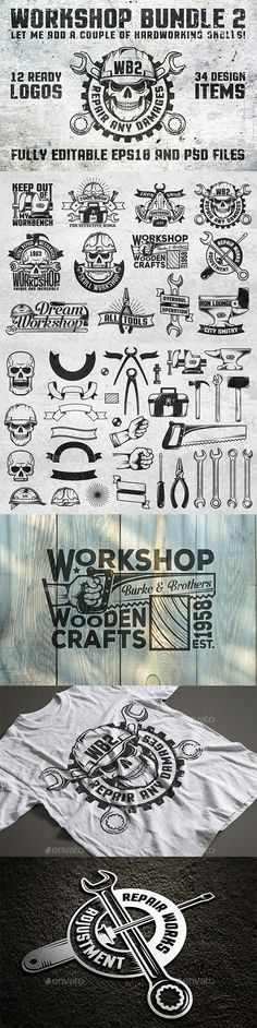 12 Amazing, New Logos for Various Workshops - PSD, Vector EPS