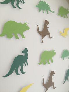 Image of Dinosaurs - Medium sq.) - Green, Brown and Yellow Dinosaur Images, Kid Names, Green And Brown, Dinosaurs, Kids Bedroom, Paper Art, Dinosaur Stuffed Animal, Yellow, Handmade