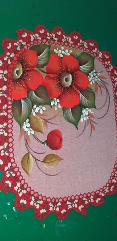 Fabric Painting On Clothes, Painted Clothes, Flower Tattoo Designs, Table Runners, Flora, Coasters, Hand Painted, Holiday Decor, Painted Rug