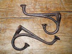 6-Cast-Iron-Tack-Saddle-Hook-Style-Coat-Hooks-Hat-Hook-Rack-Hall-Tree-BROWN