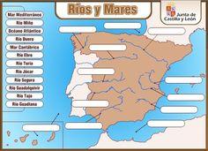"""""""Ríos y mares"""" es una actividad de la Junta de Castilla y León que consiste en un sencillo mapa interactivo donde nombrar los principales ríos y mares de España."""