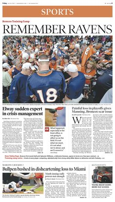 Friday, July 26, 2013 Denver Post sports cover.