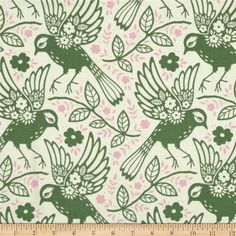 Designed by Heather Bailey for Free Spirit, this cotton print is perfect for quilting, apparel and home decor accents.  Colors include off white, green and pink.