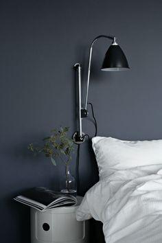 the perfect blue in nina holst& guest room, scandinavian bedroom inspiratio. Gray Bedroom, Modern Bedroom, Bedroom Wall, Blue Bedrooms, Calm Bedroom, Small Bedrooms, Teen Bedroom, Bohemian Bedroom Decor, Bedroom Inspo