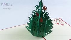 KAILIZ Green Christmas Tree 3D Pop up Kirigami Christmas Card