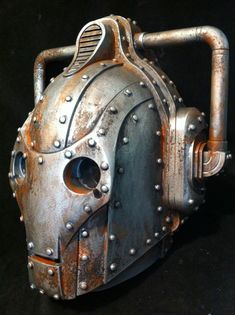 Custom Rusted  Steampunk Doctor Who Cyberman Helmet Dr by kyoob