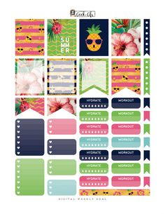 Free Weekly one page – Tropical Pineapple – Planner Addiction