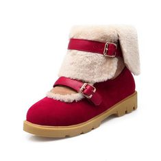 WeenFashion Women's Low-top Buckle Soft Material Low-Heels Round Closed Toe Boots >>> Check this awesome product by going to the link at the image.
