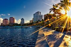 Sunset over Downtown West Palm Beach from the Flagler drive seawall (West Palm Beach, Florida)