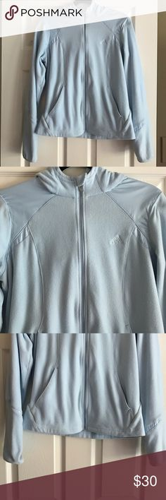 Adidas Hooded Jacket Adidas hooded zip-up jacket. Baby blue color. Size Medium. 100% polyester. Very soft & warm! Excellent condition. Adidas Jackets & Coats