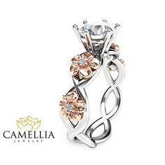 Moissanite Twist Verlobungsring Ring 14K zwei von CamelliaJewelry