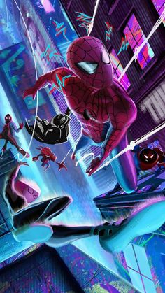 Spider Verse Gang In Resolution Man Wallpaper, Avengers Wallpaper, Cartoon Wallpaper, Nightwing Wallpaper, Wallpaper Wallpapers, All Spiderman, The Amazing Spiderman 2, Miles Morales Spiderman, Marvel Comics Art