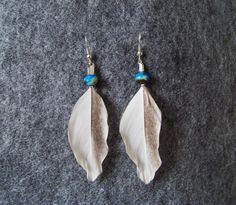 Tribal earings. Native. Hippie. Feathers and blue agate.