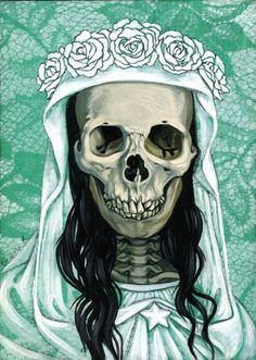 ☆ Mini Santa Muerte in White on Turquoise :¦: Artist Briana Bainbridge ☆
