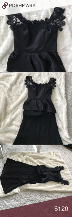 Vera Wang French Lace Off Shoulder Peplum Gown. Lace was hand stitched and added after. Incredibly stunning and flattering. One of a kind dress! Anthropologie Dresses Prom