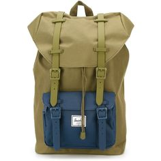 Herschel Supply Co. Little America Backpack ($107) ❤ liked on Polyvore featuring bags, backpacks, green, green bags, herschel supply co bag, military rucksack, herschel supply co. and military bag