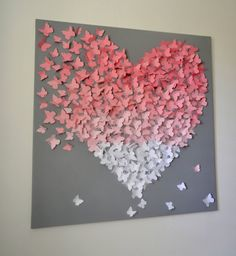 XL 3D Butterfly Statement Wall Art-Light Pink Ombre on Grey - MADE TO ORDER  Add a romantic and fun modern touch to any room in your home with one of