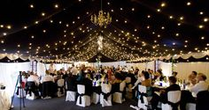 b&w wedding reception tent with starry night ceiling via bwanzor.files.wordpress.com