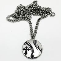 Stainless Steel Baseball Necklace with curb chain-Phil 4:13