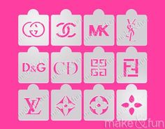 Make and Fun Stencils - 12 pcs Designer Fashion Cake Stencil, Cookie Stencil Airbrush Nails, Airbrush T Shirts, Crystal Room, Cake Stencil, Custom Stencils, Cake Decorating Supplies, Cookie Decorating, Diy Gifts, Handmade Gifts