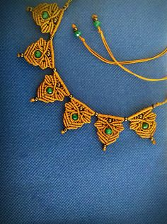 Macrame necklace, boho chic,gold and petrol colors