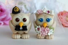 Love bird wedding cake topper beige owl bride and by PerlillaPets