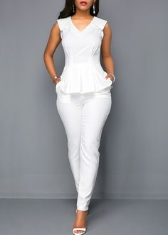 V Neck Sleeveless White Peplum Jumpsuit Women Clothes For Cheap, Collections, Styles Perfectly Fit You, Never Miss It! White Peplum, White Jumpsuit, Wrap Jumpsuit, White V Necks, White Outfits, Mode Outfits, African Fashion, Ideias Fashion, Fashion Dresses