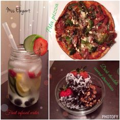 Fitgirlsguide pita pizza, dark chocolate covered strawberries, fruit infused water, healthy meal, dinner.