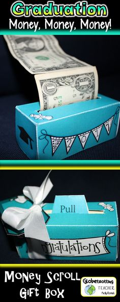Every graduate wants MONEY! Print, cut, and fold this festive money scroll box and watch the laughter and giggles that come out with the cash. So much fun and oh, so practical! Many styles to select from.