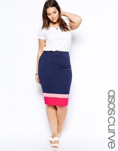 Image 1 of ASOS CURVE Exclusive Pencil Skirt In Color Block