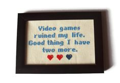 Video Games Lives Funny Completed Cross Stitch by RatherUnseamly, £25.00