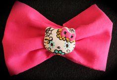 Hot Pink Hello Kitty Sugar Skull Bow or Headband www.jaebellaboutique.etsy.com