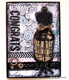 Sandra made her own background with the Darkroom Door Button's stamp for the Simon Says Stamp Monday Challenge!