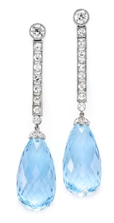 A Pair of Art Deco Aquamarine and Diamond Ear Pendants, mounted in platinum, circa 1925.  Available at FD. www.fd-inspired.com