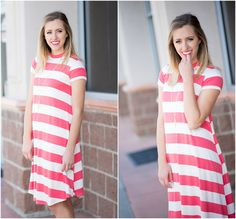 Coral Stripe Dress: Stripes AND coral in one dress? Pinch me, I'm dreaming! This dress has the perfect length and cutest sleeve. Pair with booties or sandals!