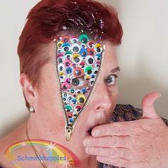 Wiebeloogjes zipperface. Funny Halloween  Schminkkoppies Marielle Heuft Freddy Krueger, Funny Halloween, Horror, Earrings, Jewelry, Ear Rings, Stud Earrings, Jewlery, Jewerly