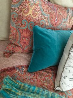 Fall bring the holidays and the holidays bring guests.Change out the Summer light bedding for a layered rich jeweled toned color palette. Paisley Ralph Lauren bedding gets paired with deep turquoise velvet pillows and a woven throw. These gorgeous rich throws are my go-to for affordable seasonal color and texture. All found in the bedding aisle at HomeGoods. Happy By Design Sponsored Post