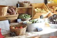 visit local farms in your area! ~ great display using crates, galv tubs, baskets n chunks of wood w chalkboard paint