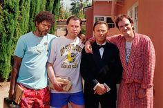 Samuel L. Jackson, John Travolta, Harvey Keitel and Quentin Tarantino on the set of Pulp Fiction.
