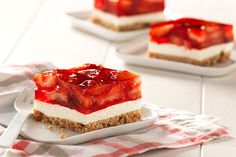 <Watch our video to learn how to make Strawberry Pretzel Dessert Squares. Watch our video to learn how to make Strawberry Pretzel Dessert Squares. Find layer after layer of yummy goodness in this strawberry pretzel dessert. Kraft Foods, Kraft Recipes, Ww Recipes, Skinny Recipes, Family Recipes, Healthy Recipes, Easter Recipes, Cheese Recipes, Delicious Recipes