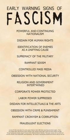Poster - Early Warning Signs of Fascism