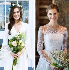 Bouquets de noiva de Allison Williams - estilo boho para o seriado Girls e estilo clássico para a vida real !